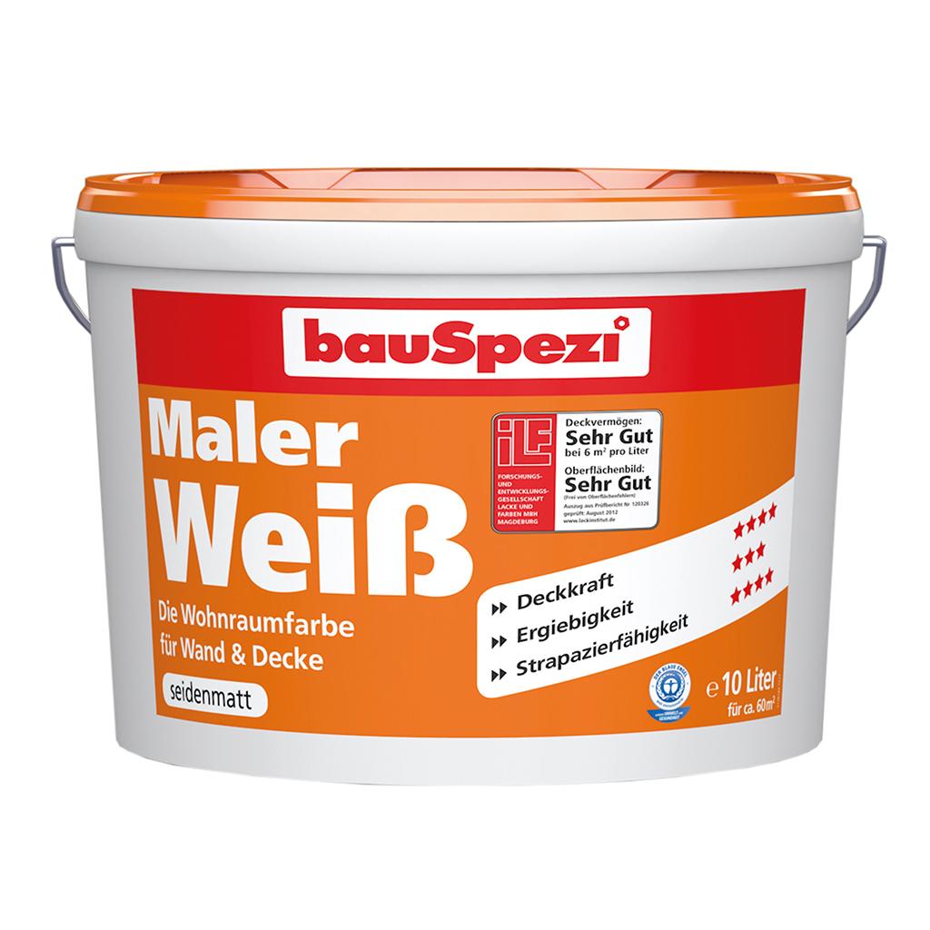 bauSpezi Maler Weiss Wohnraumfarbe für Wand & Decke
